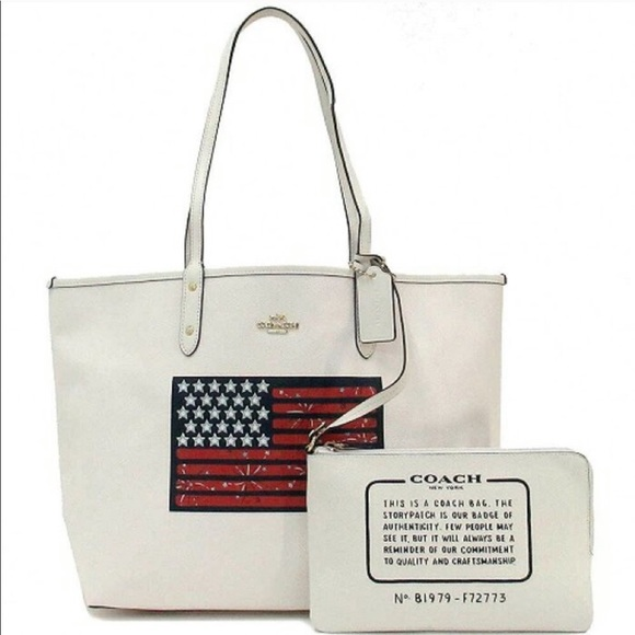 Coach Handbags - Coach Reversible American Flag PVC City Tote